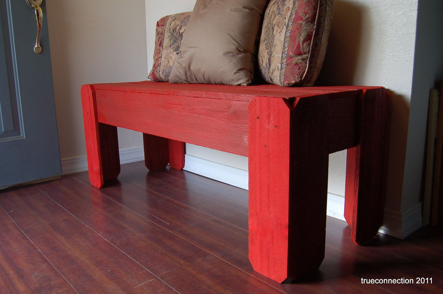 - Red Wood Bench. Wood Furniture. Rustic Furniture. Bright Red Bench