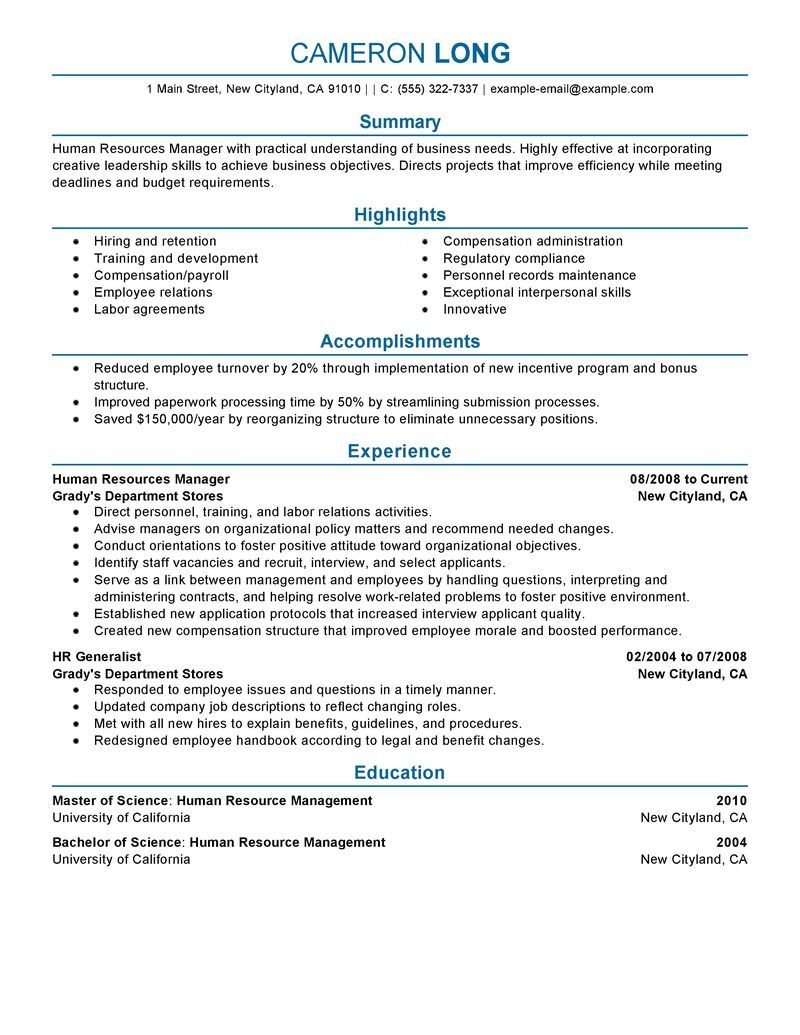 Example Of A Job Resume Big Human Resources Manager Example  Professional 2 Design