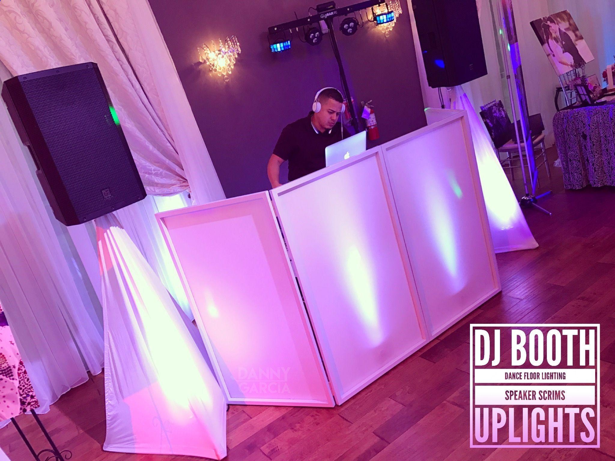 Dj Booth Setup For Weddings Uplights Speaker Scrims Dance Floor Lighting Www Djdannygarcia Wedding Dj Setup Dj Booth Wedding Dj Booth