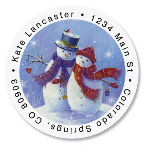 Snowy Snuggles Round Address Labels $8.99