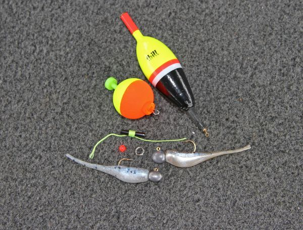 A slip float bobber stop bead split ring and jig for Crappie fishing rigs