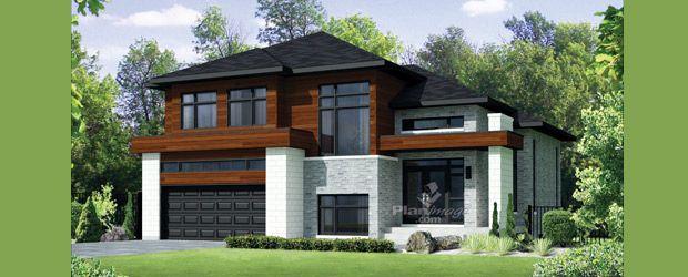 Planimage - Avec son revêtement de bois, de briques et de pierres - Modeles De Maisons Modernes