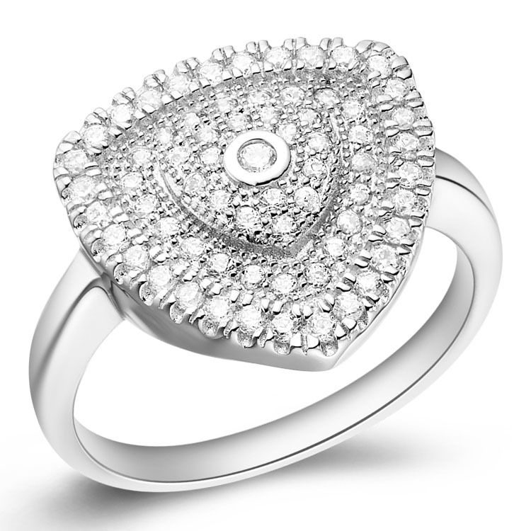 Micro inserts Platinum Plated Austria Crystal Ring