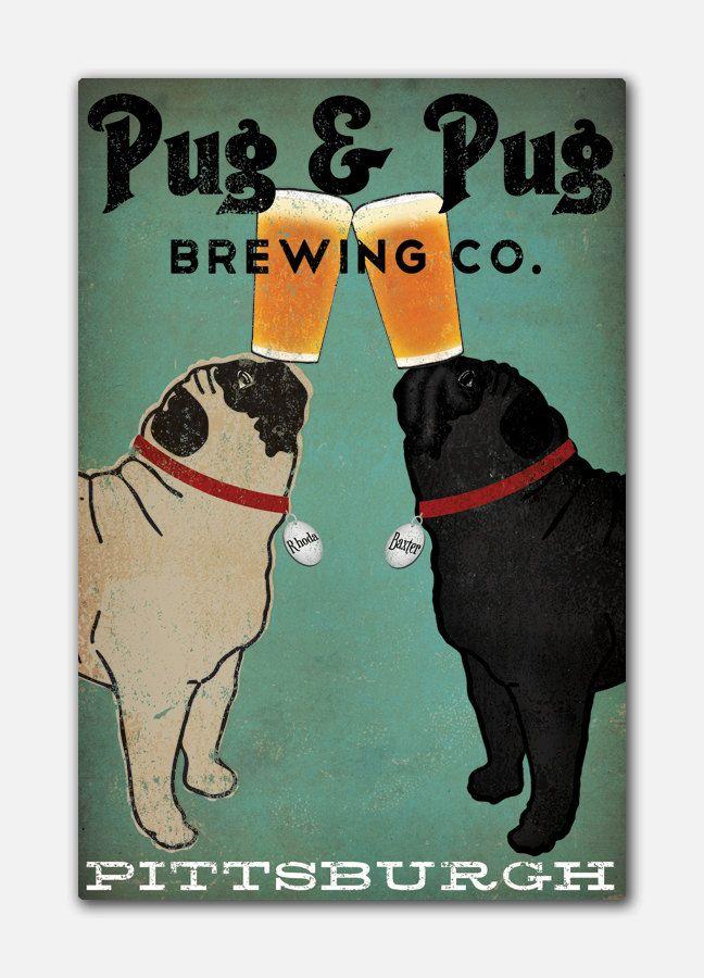 Pugs Custom Personalized Black Fawn Pug Pug Pug Dog Brewing