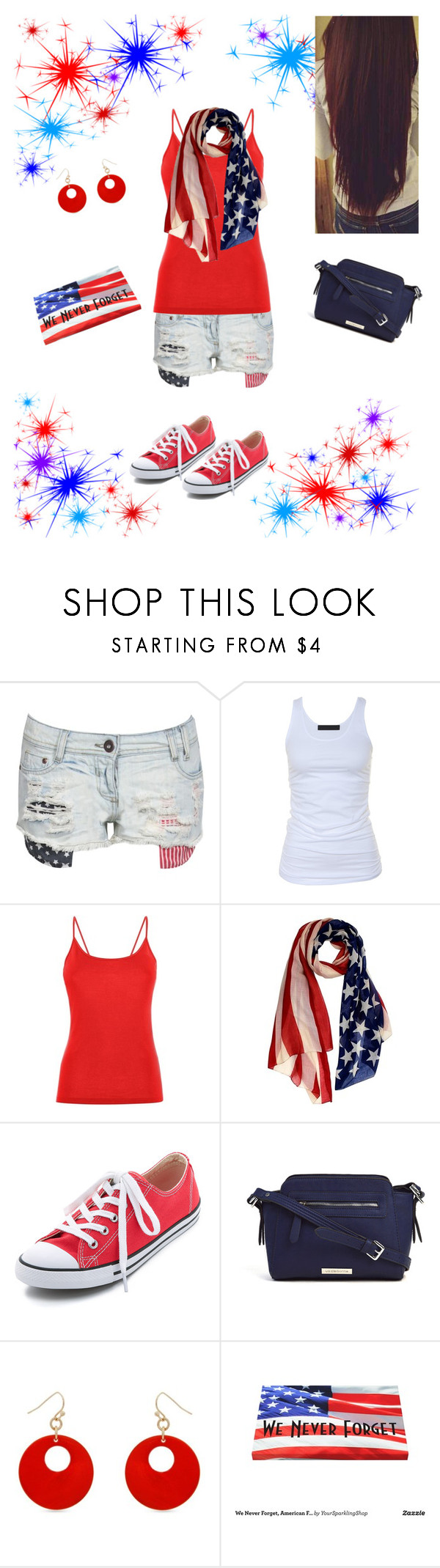 """""""Independence Day!"""" by alzawacki ❤ liked on Polyvore featuring Tusnelda Bloch, Converse, Liz Claiborne and Erica Lyons"""