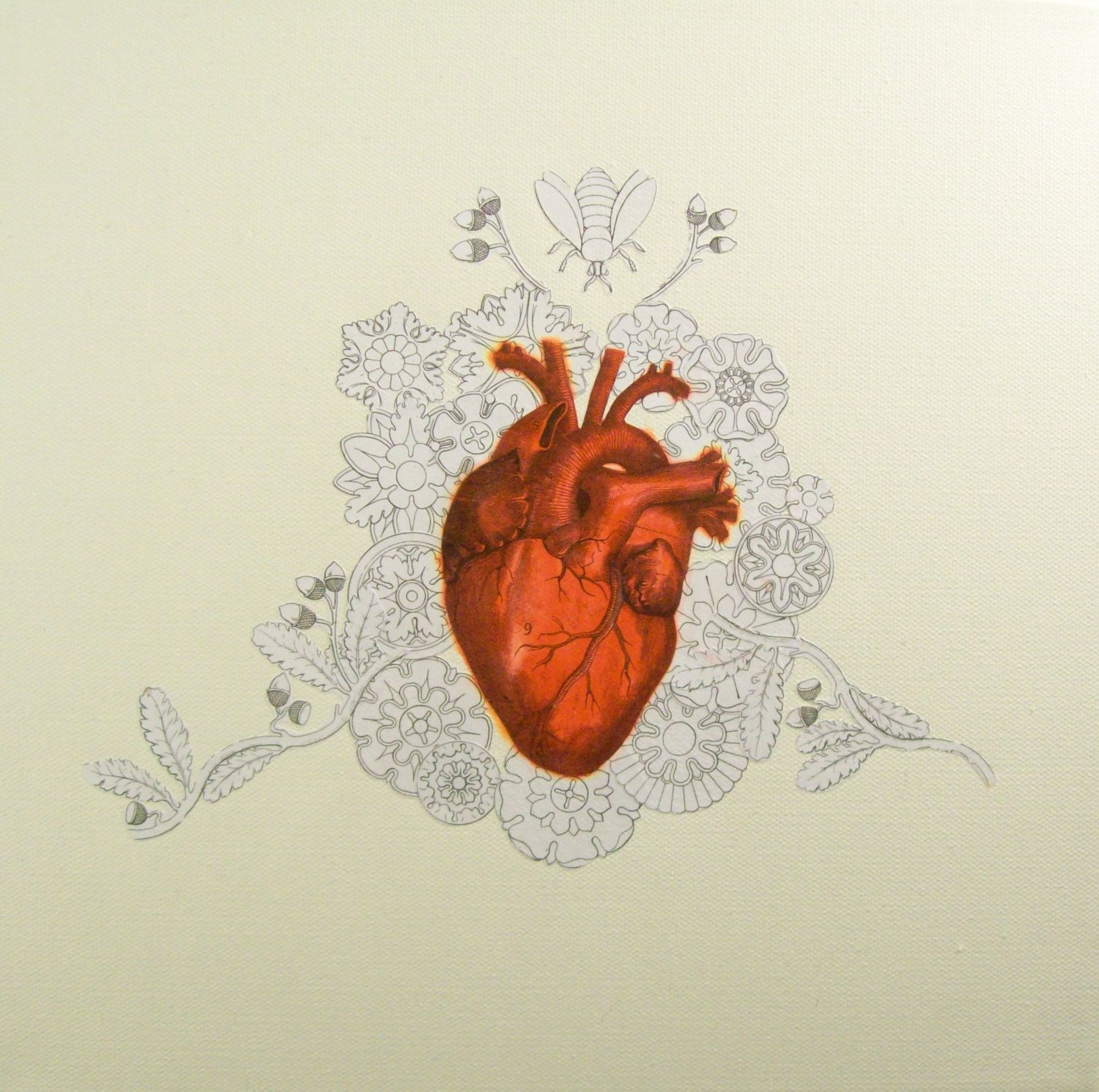 Red Valentine Anatomical Medical Heart With Flowers Oddity Art. $300.00, via Etsy.