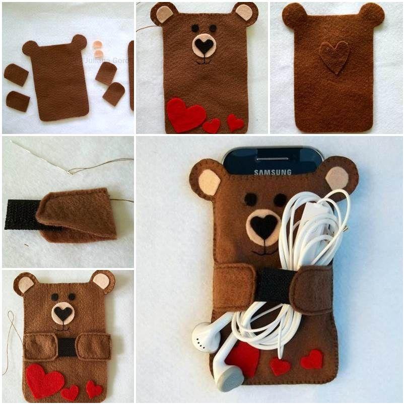 Creative Ideas - DIY Cute Felt Bear Cell Phone Case | Pinterest ...