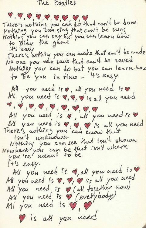 Beatles All You Need Is Love Beatles Lyrics My Love Lyrics Country Music Lyrics