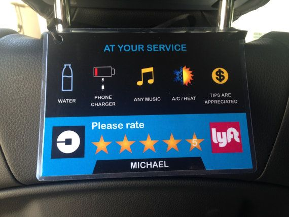 2 x Uber Lyft 5 Star Ratings Sign Custom Messages and Made