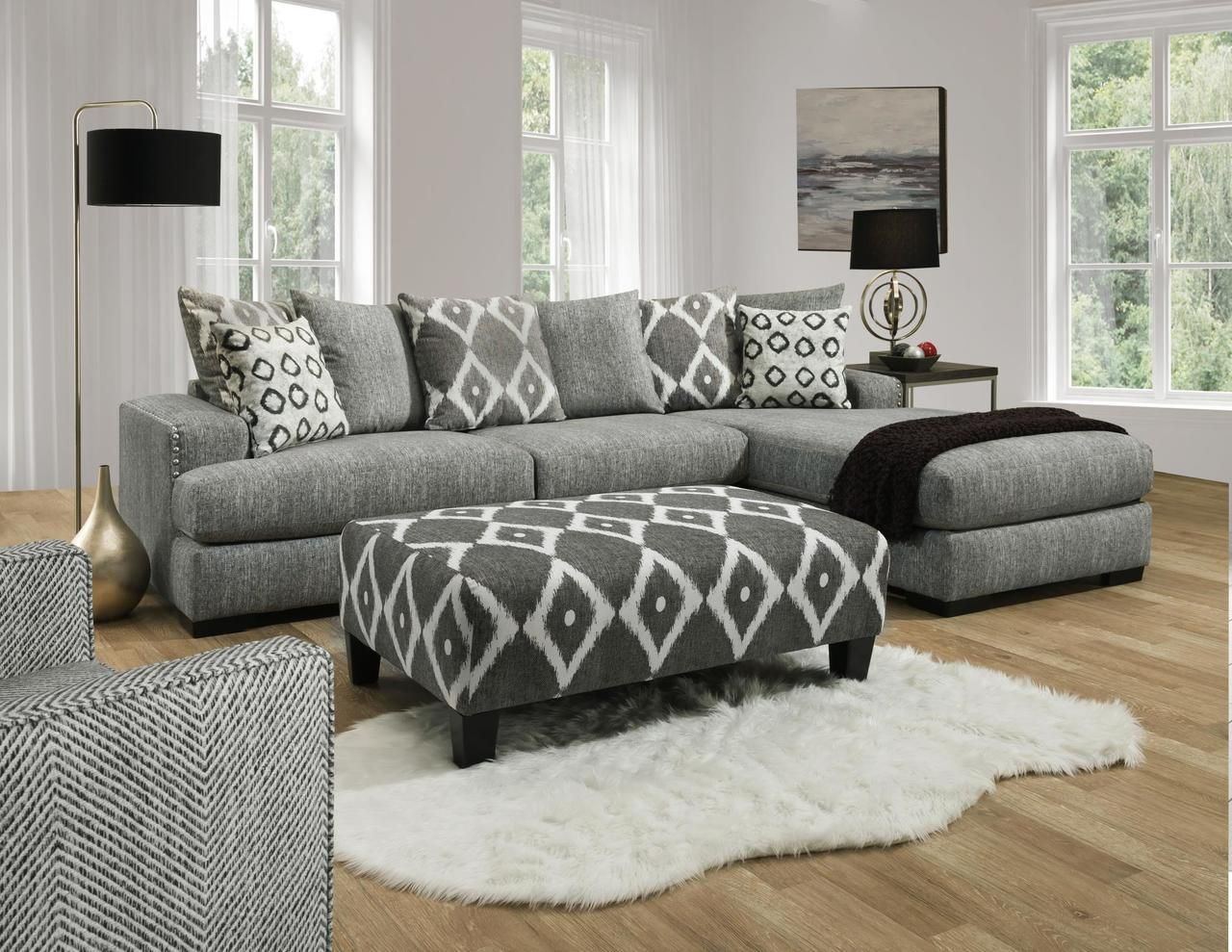 Cool Albany 883 Stonewash Sectional With Chaise Savvy Discount Ibusinesslaw Wood Chair Design Ideas Ibusinesslaworg