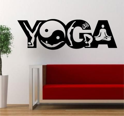 Yoga Word Design Version Decal Sticker Wall Vinyl Word Design - Zen wall decalsvinyl wall decal yin yang yoga zen meditation bedroom decor