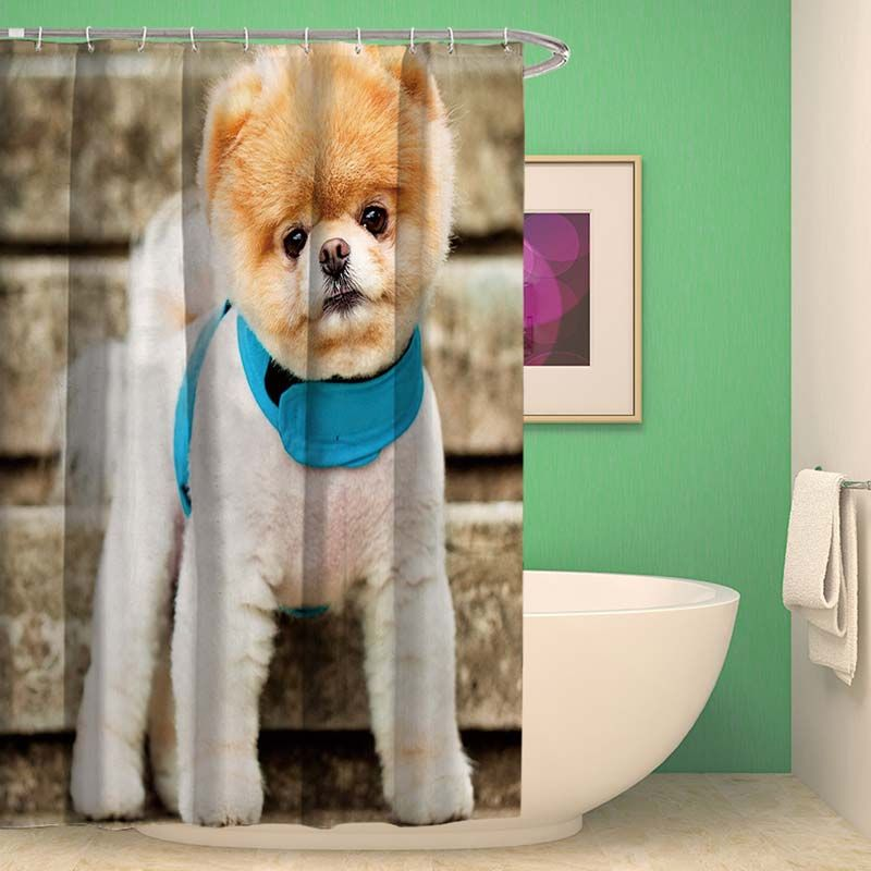 Waterproof Mouldproof Shower Curtain Creative Lifelike Cute Puppy