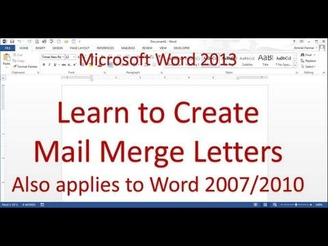 Mail Merge Letter (Word 2013/2016) - YouTube Microsoft Word