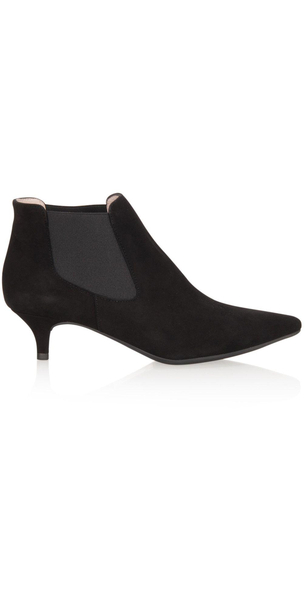 Black Jeoni Kitten Heel Ankle Boot Kitten heel ankle
