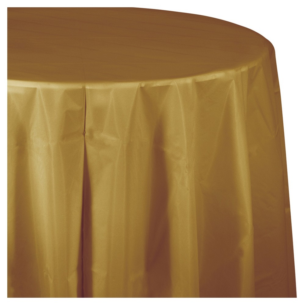 Glittering Gold Round Plastic Tablecloth Round Table Covers Table Covers Plastic Tablecloth
