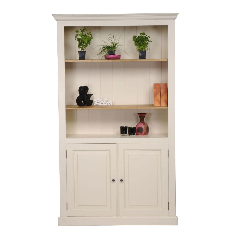 Mottisfont Painted 2 Door Bookcase White Pine Wooden