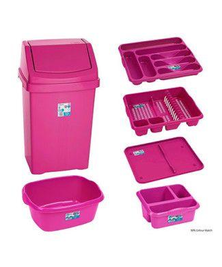 Pink Princess 6 Piece Kitchen Waste Bin Set Hot Pink