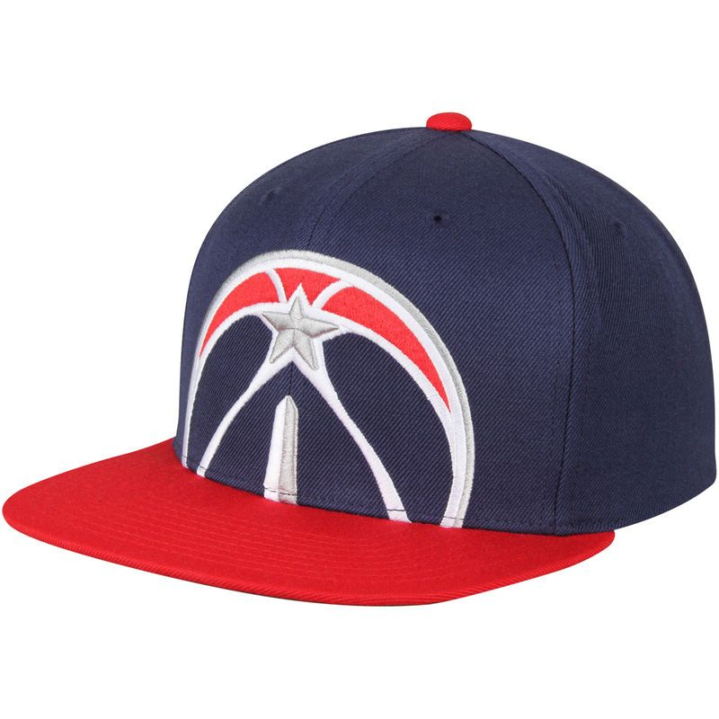 a31a8cb8372af7 Washington Wizards Mitchell & Ness Cropped XL Logo Adjustable Snapback Hat  - Navy/Red