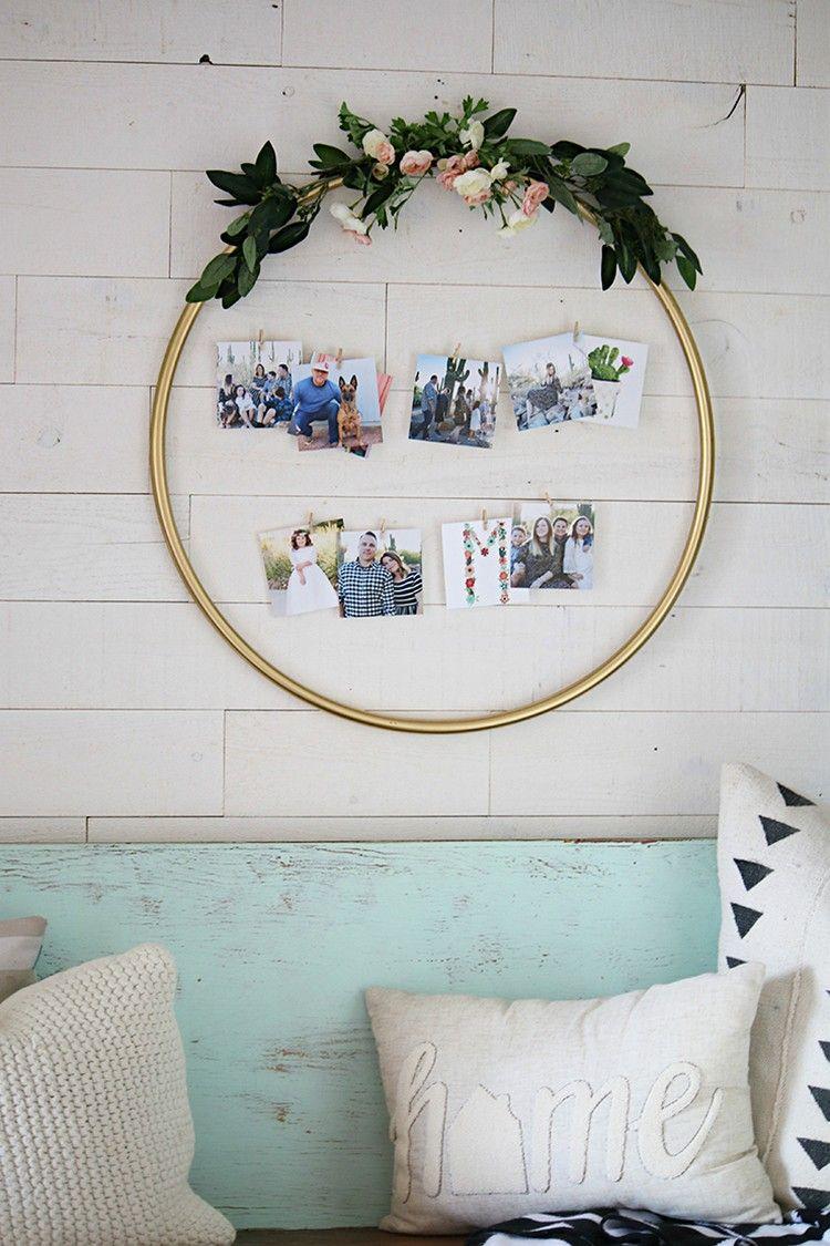 diy foto rahmen hula hoop reifen blumen deko kranz #decoration ...