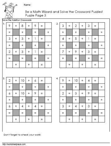 Addition Crossword Puzzle 3 Math Riddles Maths Puzzles Math
