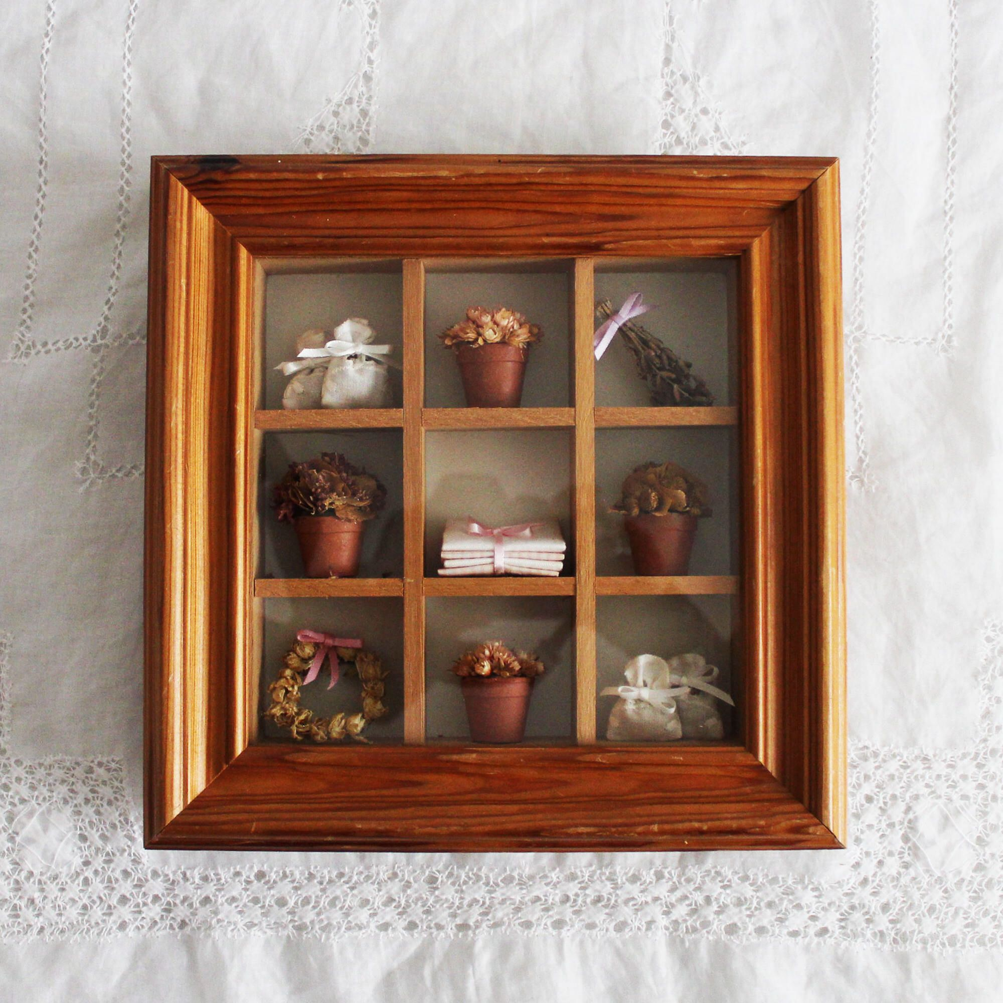 Vintage miniature framed diorama curio cabinet display wall
