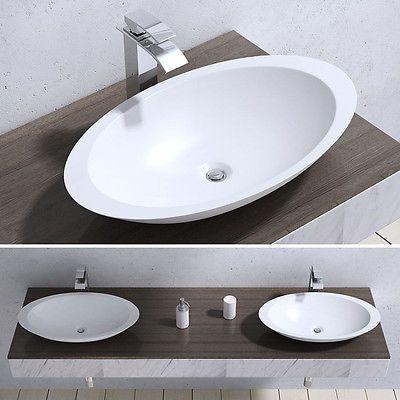 Bathroom Round Counter Top Vanity Wash Basin Sink White Ceramic