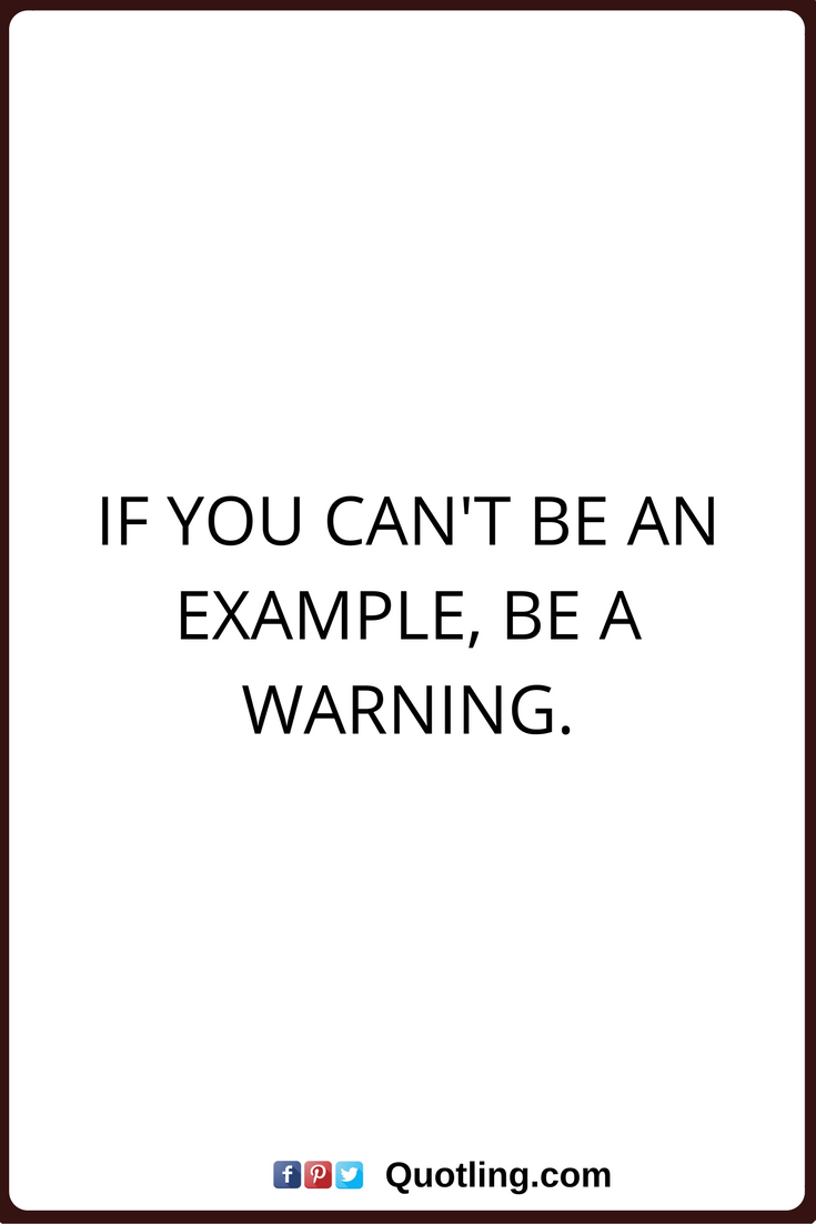 Meaningful Life Quotes Funny Quotes If You Can't Be An Example Be A Warning Funny