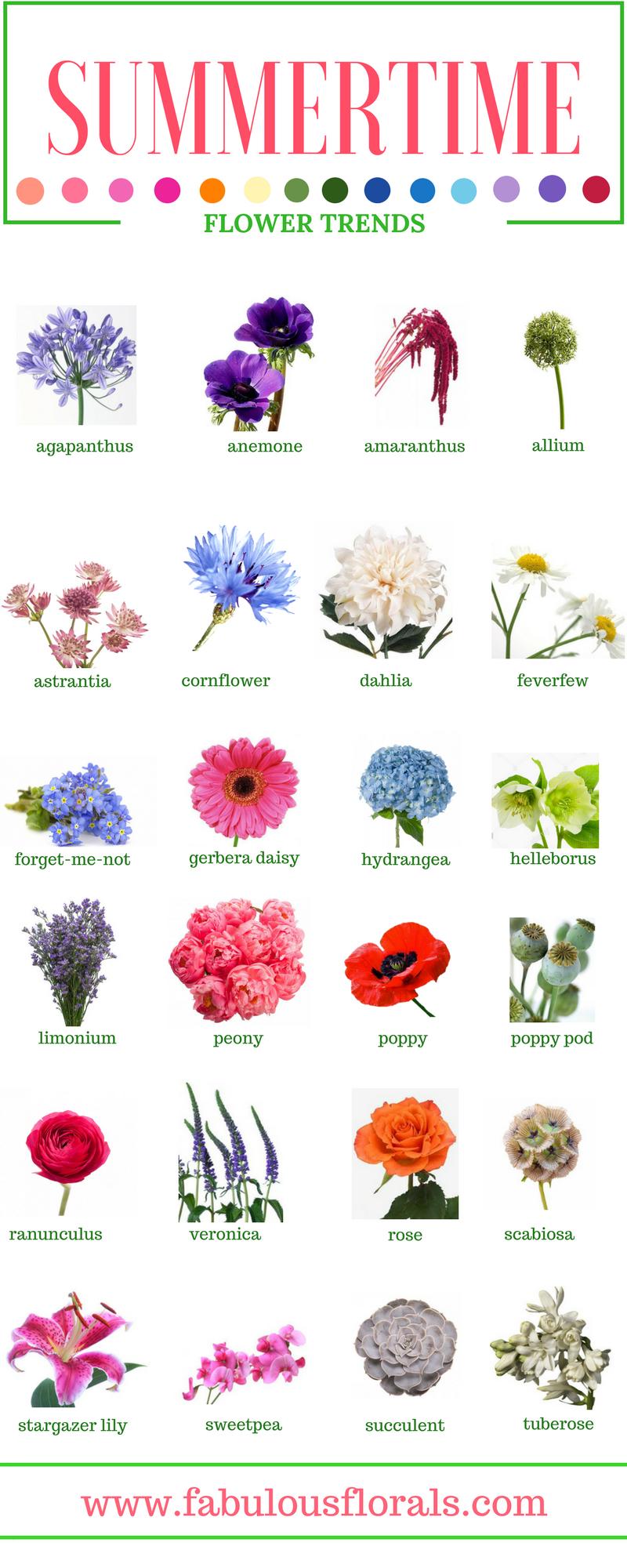 SUMMER FLOWERS Names of the best Summer flowers wedding