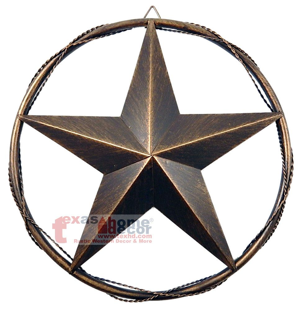 "Metal Star Wall Decor 12.5"" Metal Barn Star Wall Mounted Brushed Copper Finish Tube"