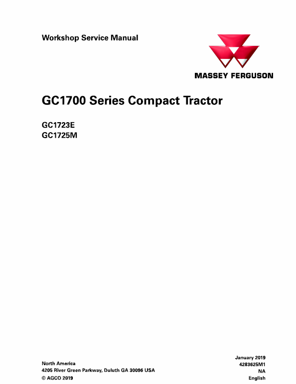 Massey Ferguson Gc1723e Gc1725m Tractor Service Manual Tractors Massey Ferguson Manual