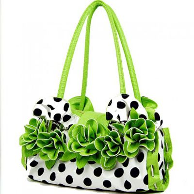 This has to be one of the cutest purses I've ever seen! Black and white polka-dots with lime green handles and fluffy flowers! Priced well, too. LOVE