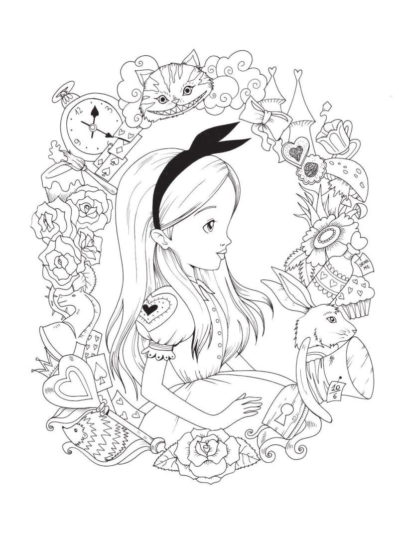 Free Free Alice In Wonderland Coloring Pages, Download Free Clip ... | 1080x801
