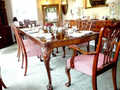 Room Antique Carved Mahogany Chippendale Inlaid Dining Set W 6 Chairs