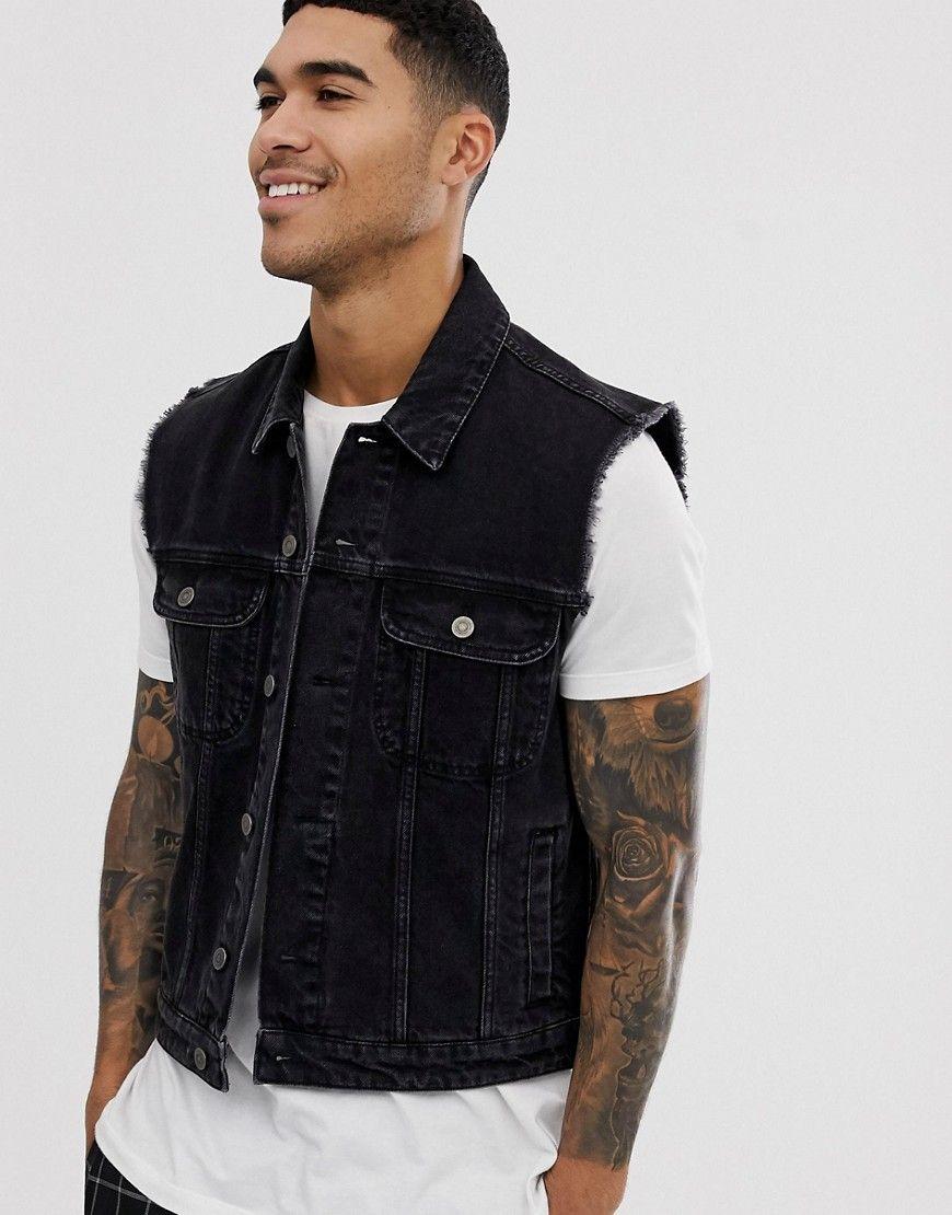 Asos Design Sleeveless Denim Jacket In Black Black Asosdesign Cloth Sleeveless Denim Jackets Asos Designs Black Denim Jacket [ 1110 x 870 Pixel ]