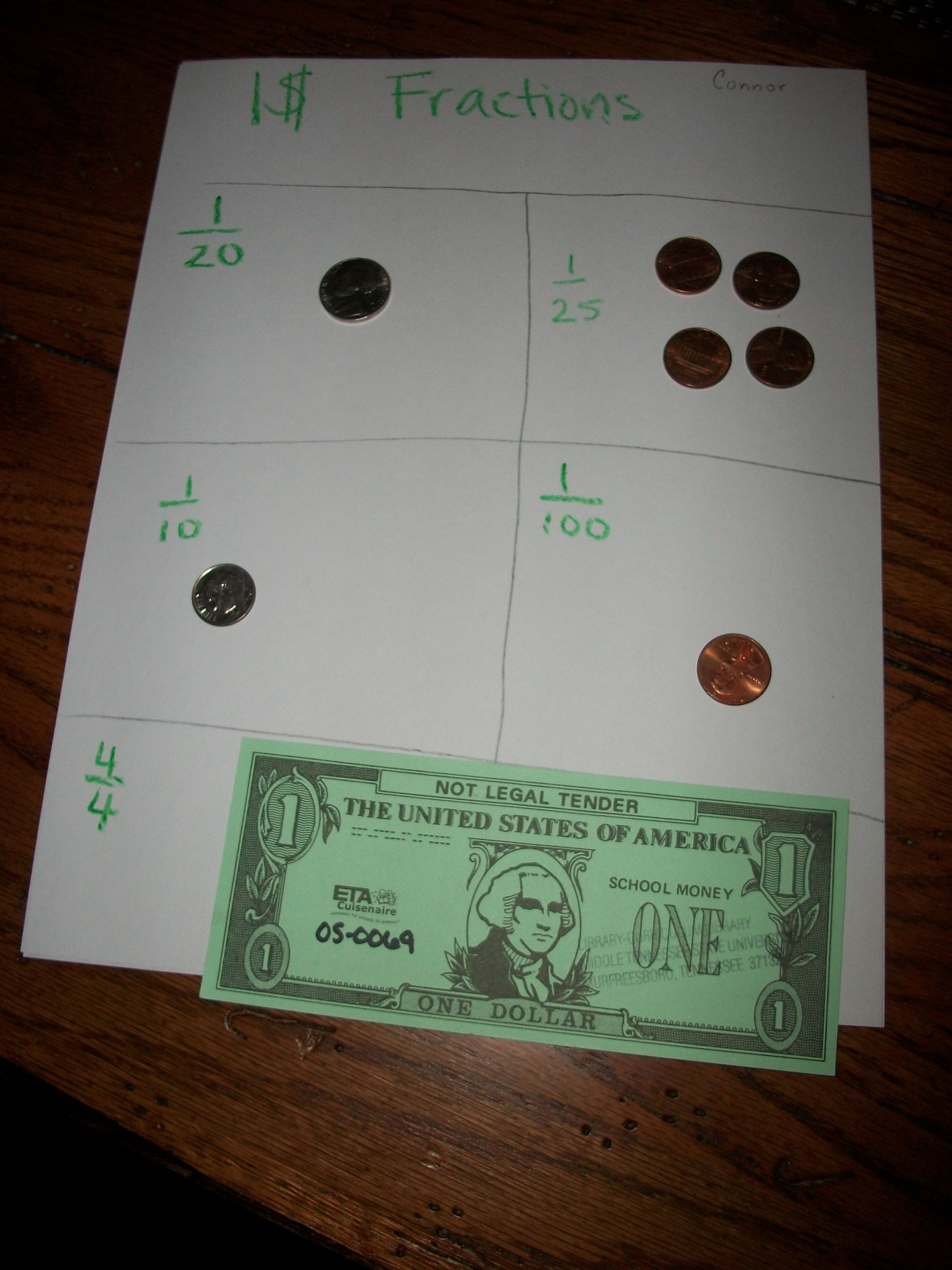 I Used This To Teach Fractions By Incorporating Money It