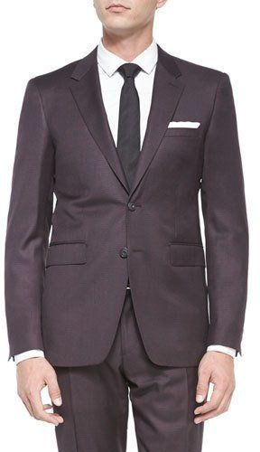 Burberry Milbank Check Two-Piece Wool Suit, Burgundy