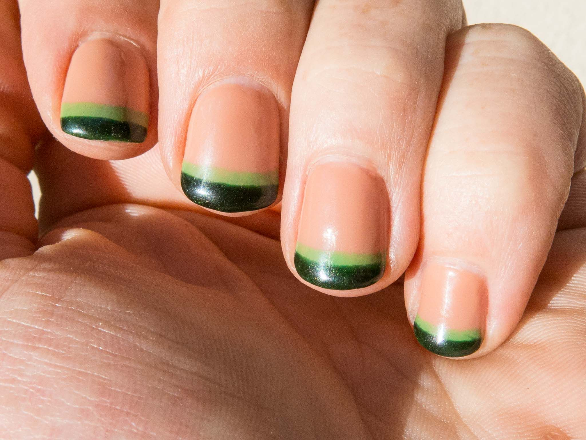 Bright Green And Dark Green Double French Manicure Using Cnd Shellac Two Layers Of Cocoa For The Base Lost Track O Local Nail Salons How To Do Nails Manicure