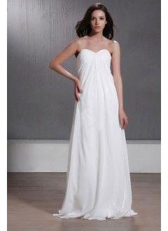 Charming A-line Sweetheart Chiffon Floor-Length Beach Wedding Dress