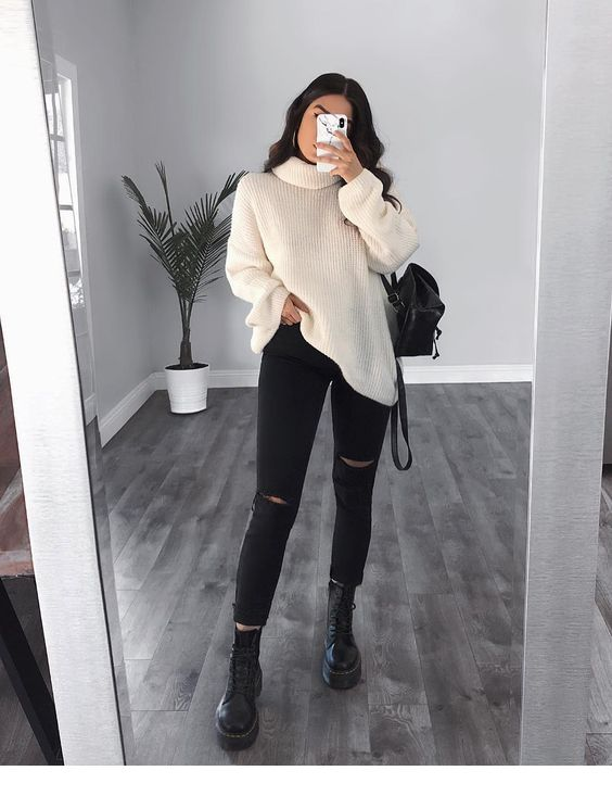 White sweater, black pants - LadyStyle #trendyoutfitsforschool