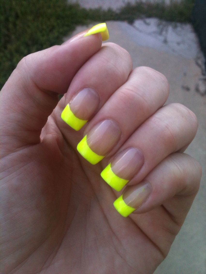 Neon yellow french manicure nail art tips long square ...