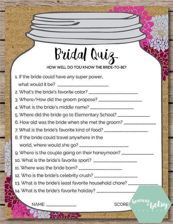 Mason Jar Bridal Quiz Shower Wedding