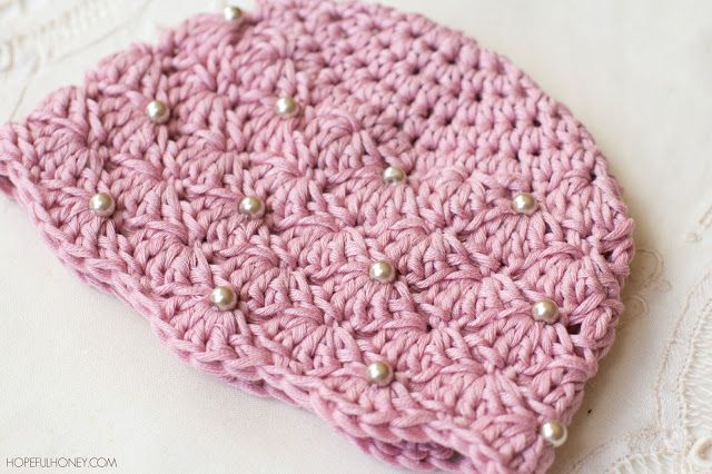 Vintage Pearl Baby Hat - Free Crochet Pattern | Patrón de ganchillo ...