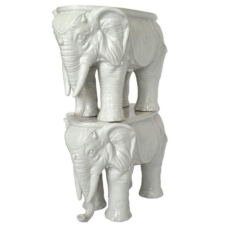 Vintage Ceramic Elephant Garden Stools #21 - Pair Of Vintage Ceramic Indian Elephant Stools / Garden Stoneware Seats |  From A Unique Collection