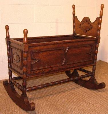 Antique Norwegian Oak Rocking Baby Cradle Vugge Baby Cradle