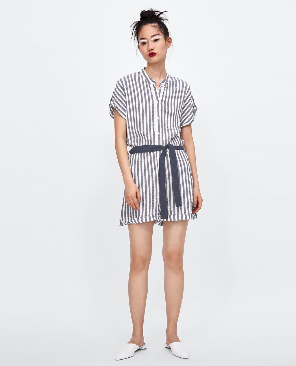 51010eff4cf Zara STRIPED JUMPSUIT WITH BELT DETAILS 49.90 USD COLOR  Blue   White  9006 151