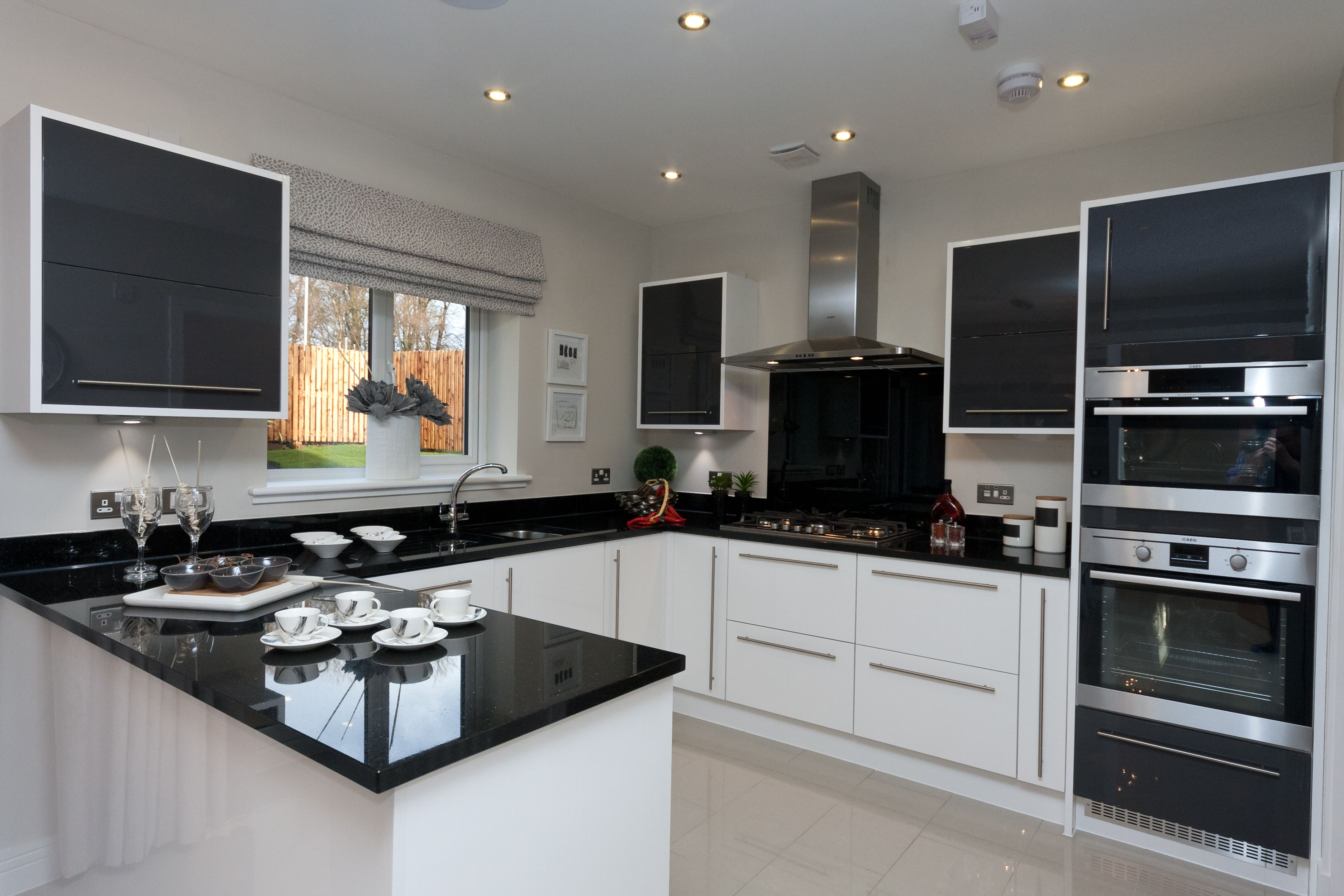 Another Great Example Of A Black And White Kitchen With Silver Accessories Design Modern Small
