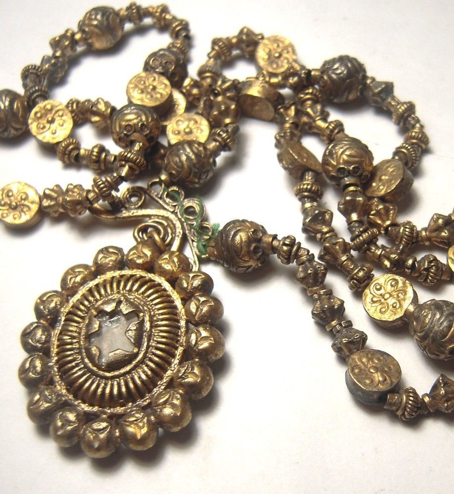 Gold Plated Silver Antique Beads: Philippines Antique Colonial Tambourine Heirloom Necklace