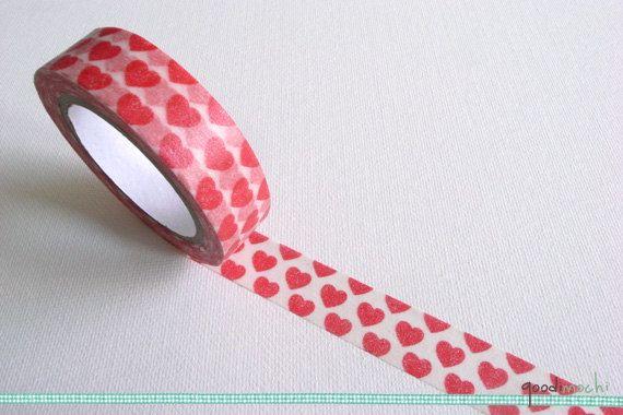 Red Heart Pattern Washi Tape Masking Tape 10m Red Heart Patterns Heart Patterns Washi Tape