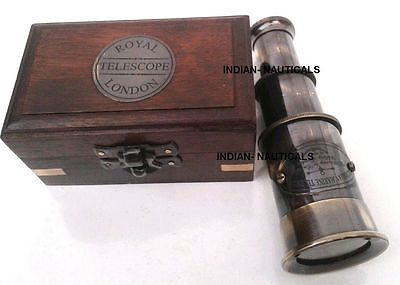 Antique Nautical Brass Vintage Telescope-Pocket Telescope With Solid Wood Box