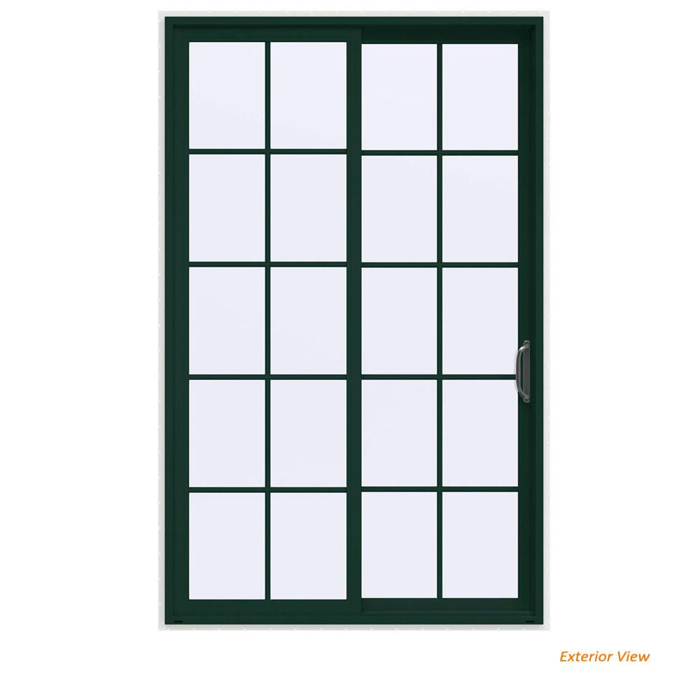 Jeld Wen 60 In X 96 In V 4500 Contemporary Green Painted Vinyl Right Hand 10 Lite Sliding Patio Door W White Interior Thdjw155900390 The Home Depot Vinyl Patio Doors Sliding Patio Doors Vinyl Sliding